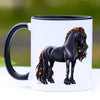 Autumn Leaves Friesian Horse Coffee Mug - 11 oz