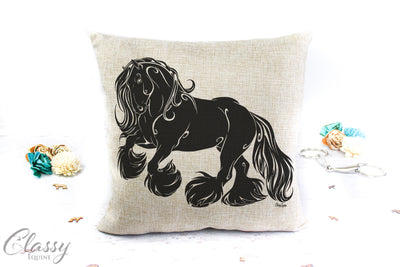 Gypsy Horse Pillow Cover - Courageous Gypsy Cob Horse