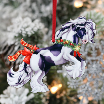 Gypsy Vanner Christmas Ornament - Rearing Tobiano Gypsy Horse with Star