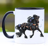 Blue Trotting Friesian Horse Coffee Mug - 11 oz
