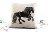 Friesian Horse Pillow Cover - Delighted Friesian Horse