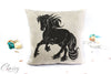 Friesian Horse Pillow Cover - Graceful Cantering Friesian Horse