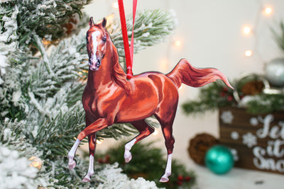 Christmas Chestnut Arabian Horse Ornament