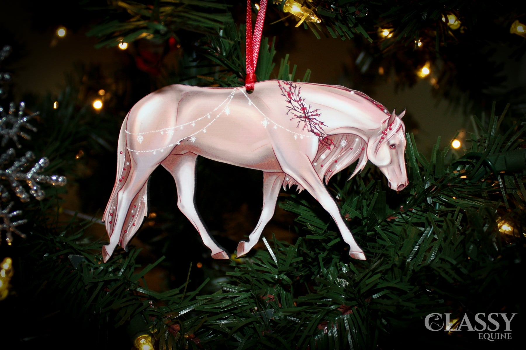 Quarter Horse Christmas Ornament Adorned In Snowflakes And Berries Classy Equine