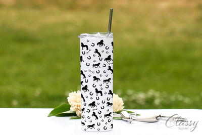 Friesian Horses All Around, 20 oz Skinny Tumbler with Straw