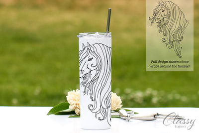 Strength Friesian Horse, 20 oz Skinny Tumbler with Straw
