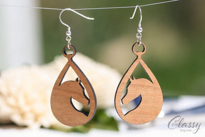 Arabian Horse Teardrop Hardwood Equestrian Earrings