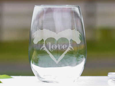 For the Love of Horses Stemless Wine Glass Set