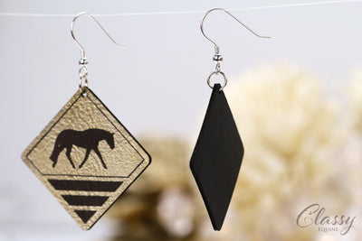 Rustic Brown and Gold Diamond Horse Dangle Earrings
