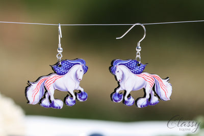 Patriotic Cantering Gypsy Horse Earrings