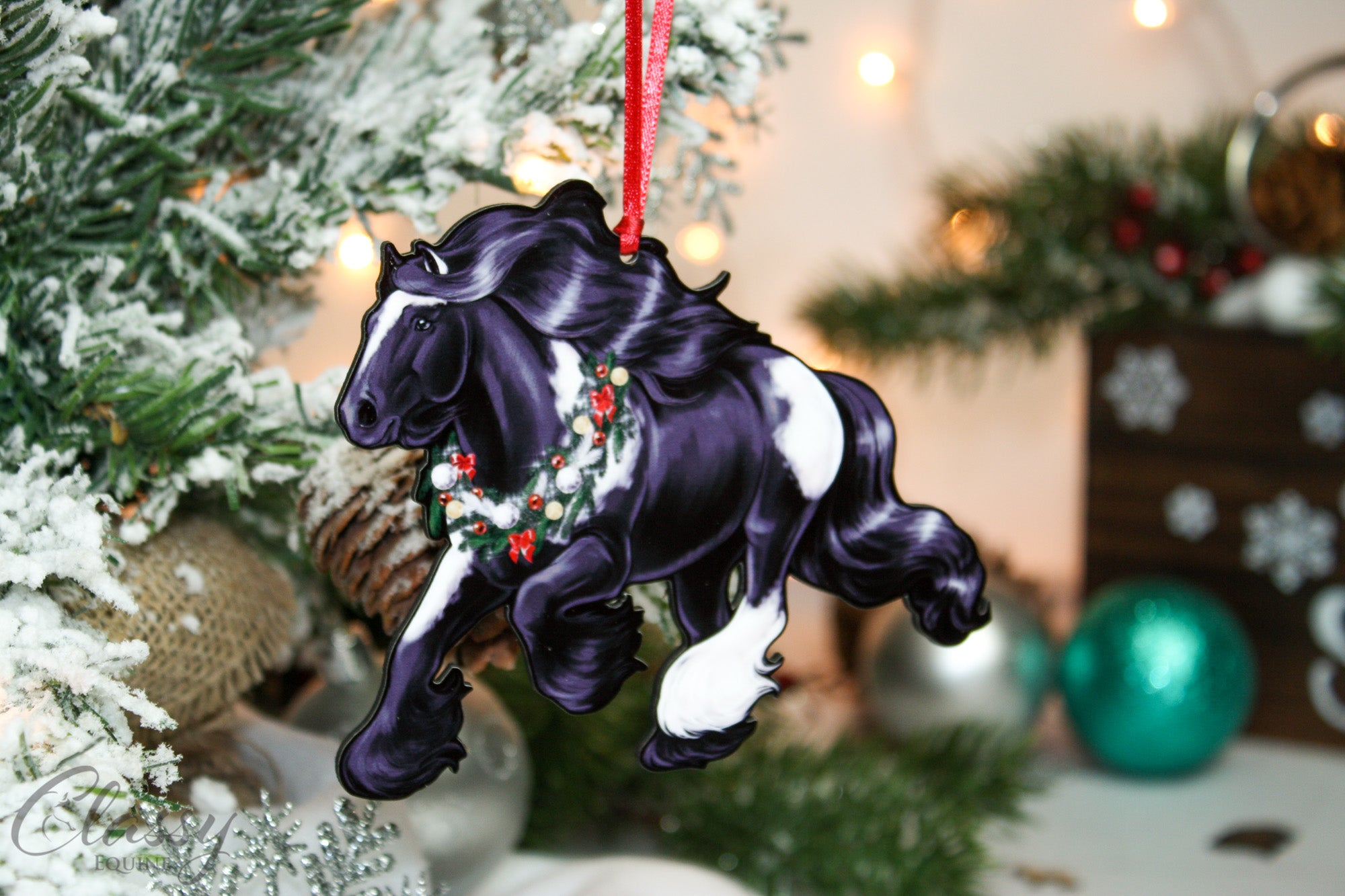 2019 Christmas Ornament Cantering Black And White Tobiano Gypsy Hors Classy Equine