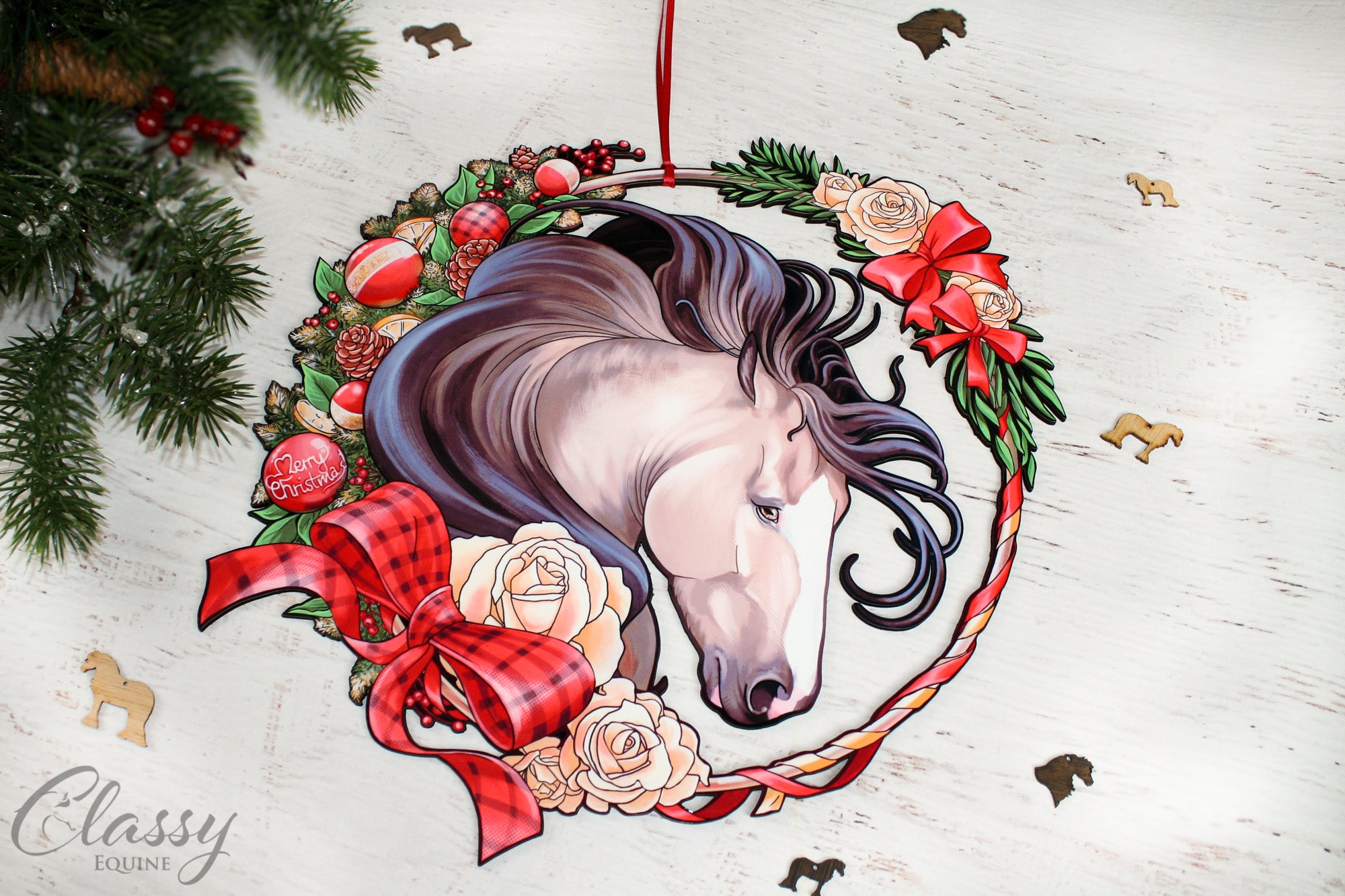 Large Buckskin Christmas Horse Wreath Classy Equine