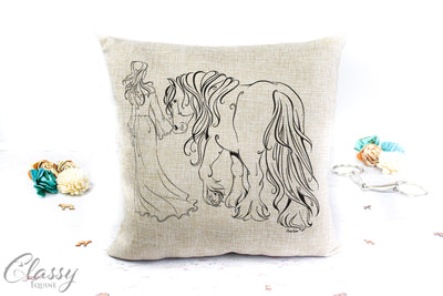 Gypsy Horse Pillow Cover - A Girl and her Gypsy Horse - True Partners
