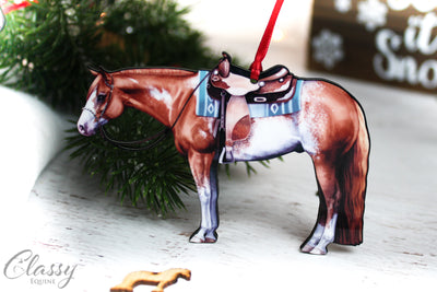 Chestnut Sabino Western Paint Horse Ornament