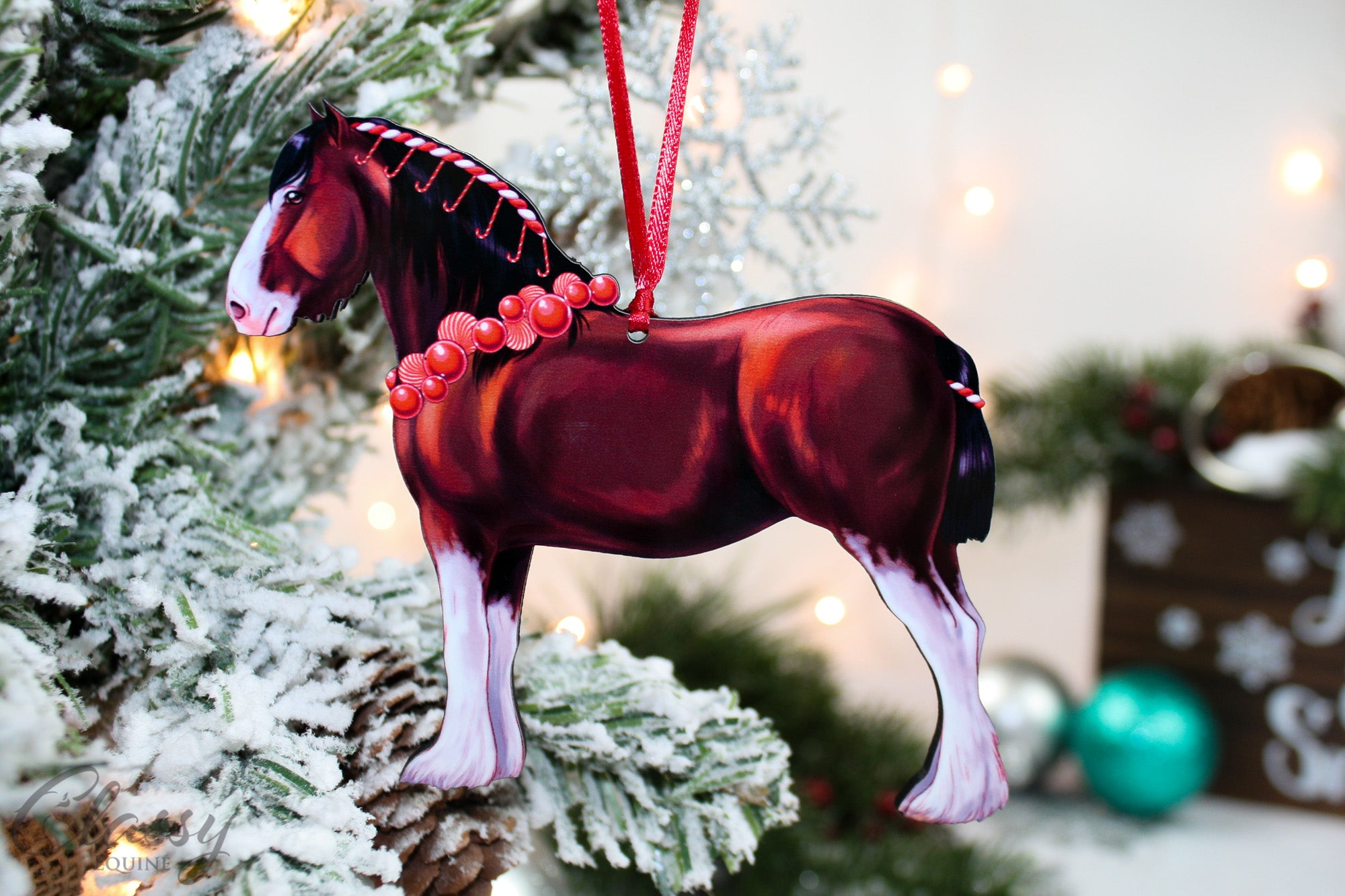 Bay Clydesdale Horse Christmas Ornament Classy Equine