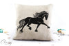 Friesian Horse Pillow Cover - Flowing Friesian Horse Extended Trot