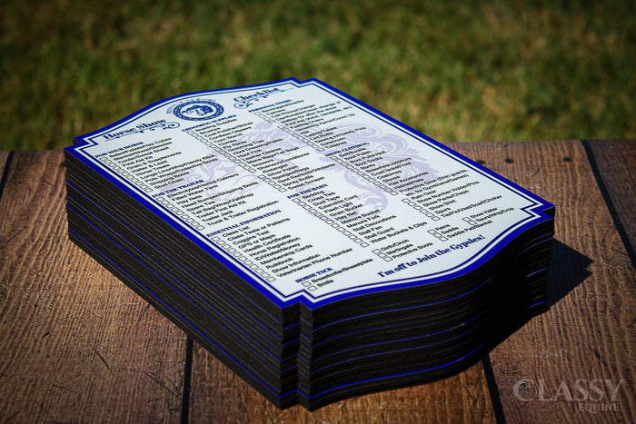 Personalized Dry Erase Horse Show Checklist