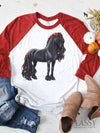 Autumn Delight - Fall Friesian Horse Raglan