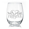 Friesian Horse Heart Stemless Wine Glasses