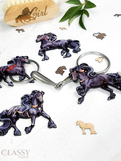 Set of 4 Friesian Horse Ornaments
