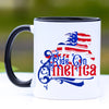 Patriotic Ride on America Friesian Horse Coffee Mug - 11 oz