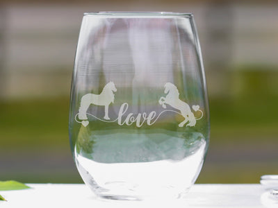 Friesian Horse Love Stemless Wine Glasses