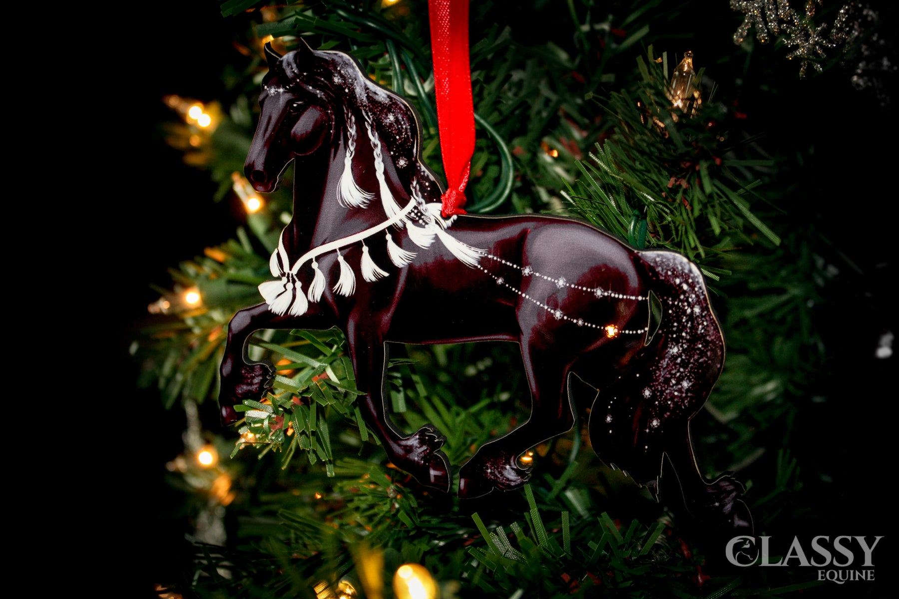 Horse Christmas Ornament Friesian Horse With White Decorations Classy Equine