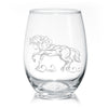 Elegant Friesian Horse Stemless Wine Glasses