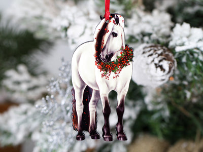 2020 Gray Dun Fjord Horse Christmas Ornament