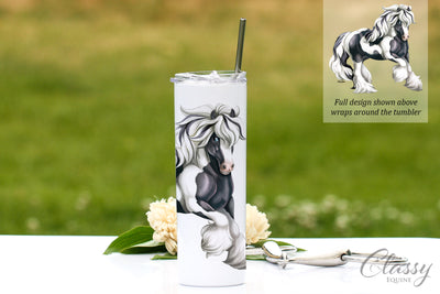 Black and White Tobiano Gypsy Vanner Horse Tumbler