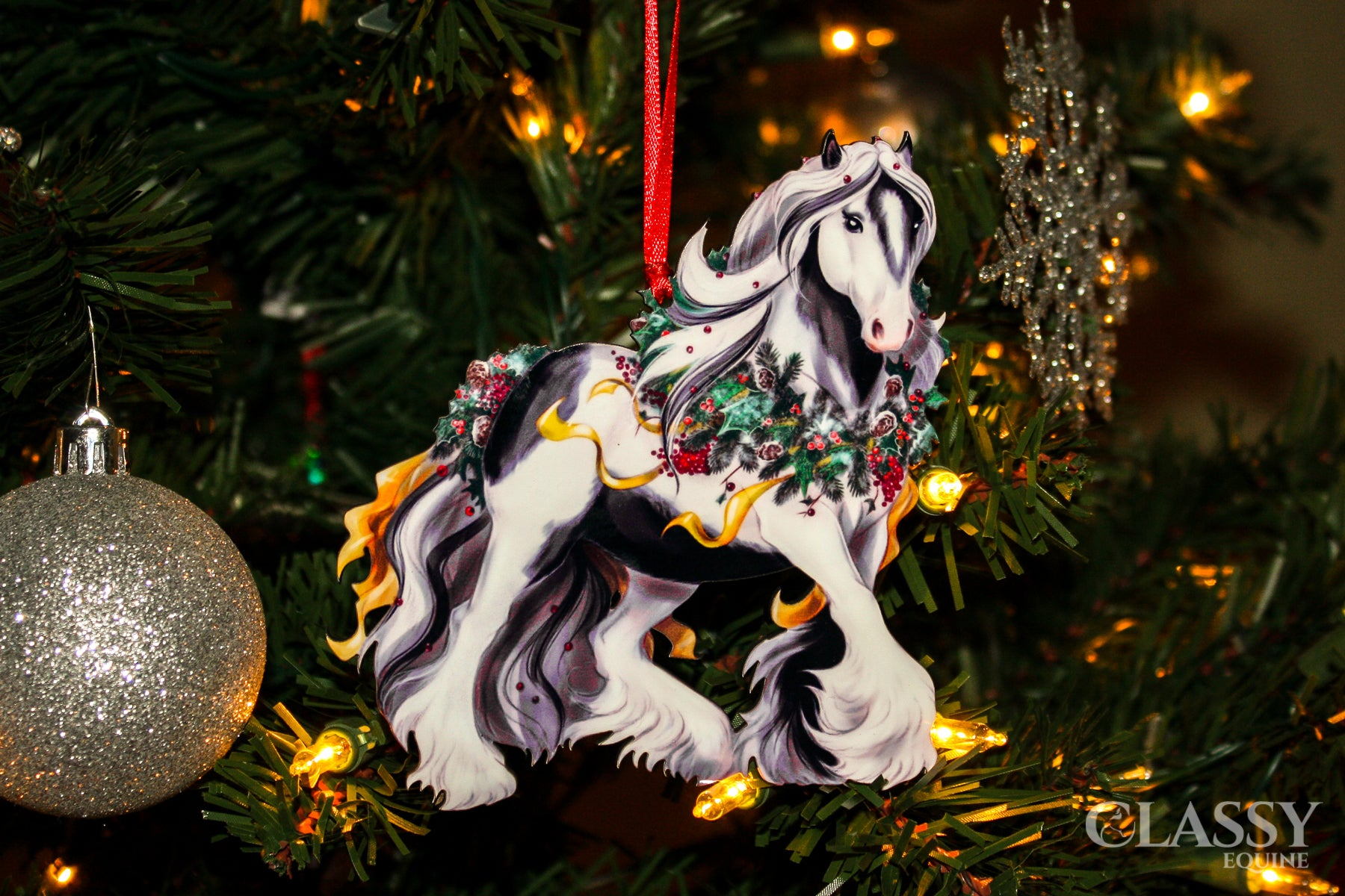 Tobiano Gypsy Vanner Horse Christmas Ornament Classy Equine