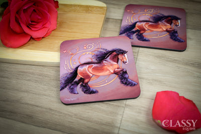 Coasters - Bay Gypsy Horse with Heart