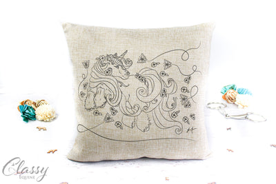 Gypsy Horse Pillow Cover - Plumeria Gypsy Unicorn Pony