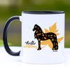 Hello Autumn Fall Friesian Horse Coffee Mug - 11 oz