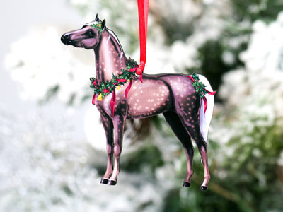 Silver Dapple Miniature Horse Christmas Ornament