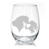 Horse Girl Kisses Stemless Wine Glasses