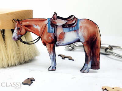 Chestnut Overo Sabino Western Paint Horse Ornament