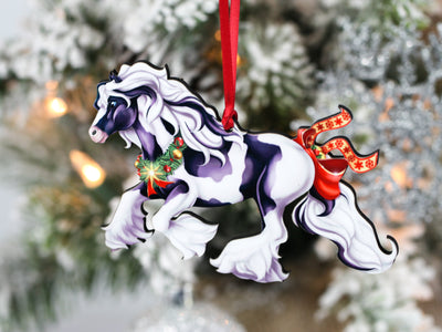 Gypsy Vanner Horse Christmas Ornament - Cantering Tobiano Gypsy Horse with Star