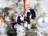 Gypsy Cob Horse Christmas Ornament - Black and White Tobiano I