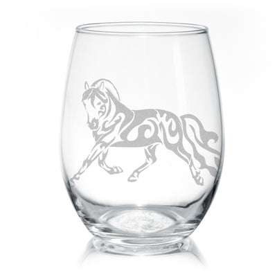 Trotting Fjord Horse Stemless Wine Glasses