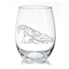 Western Reining Sliding Stop Quarter Horse Wine Glasses - 20 oz, Stemless