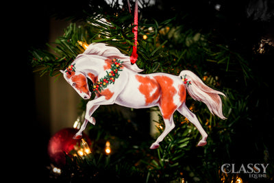 Christmas Ornament - Chestnut and White Tobiano Horse