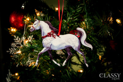 Christmas Ornament - Gray Arabian Adorned with Ribbons
