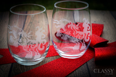 Gypsy Horse At Play Stemless Wine Glass Set