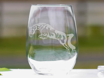 Hunter Jumper Horse Stemless Wine Glasses