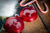 Christmas Ornaments - Set of Two Engraved Glass Ornaments with Glitter