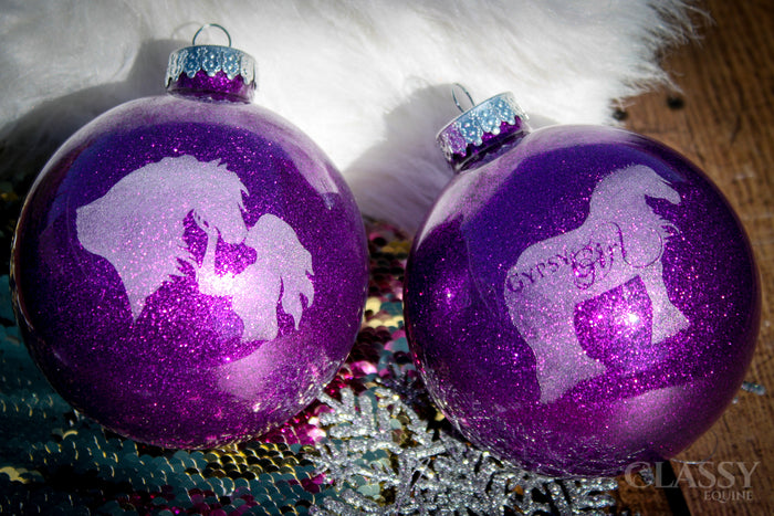 Christmas Ornaments - Set of Two Engraved  Large Round Glass Ornaments with Glitter
