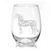 Morgan Horse Wine Glasses - Stemless 20 oz