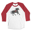 Bella Red Friesian - Friesian Horse 3/4 Sleeve Raglan Shirt