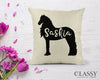 Personalized Friesian Horse Pillow Cover - Your Horse's Name with Friesian Silhouette